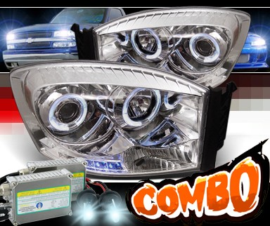 HID Xenon + Sonar® LED Halo Projector Headlights - 06-08 Dodge Ram Pickup Truck