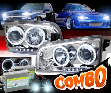 HID Xenon + Sonar® LED Halo Projector Headlights - 06-10 Dodge Charger