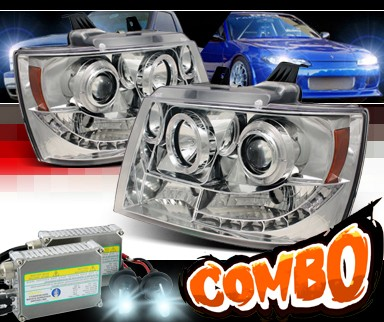 HID Xenon + Sonar® LED Halo Projector Headlights - 07-14 Chevy Avalanche