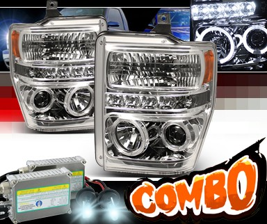 HID Xenon + Sonar® LED Halo Projector Headlights - 08-10 Ford F450 Super Duty F-450