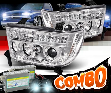 HID Xenon + Sonar® LED Halo Projector Headlights - 08-13 Toyota Sequoia