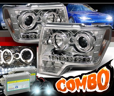 HID Xenon + Sonar® LED Halo Projector Headlights - 09-13 Ford F150 F-150