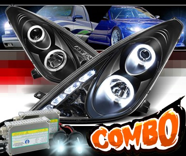 HID Xenon + Sonar® LED Halo Projector Headlights (Black) - 00-05 Toyota Celica