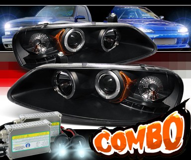 HID Xenon + Sonar® LED Halo Projector Headlights (Black) - 01-06 Dodge Stratus 4dr.