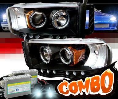 HID Xenon + Sonar® LED Halo Projector Headlights (Black) - 03-05 Dodge Ram Pickup