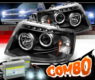 HID Xenon + Sonar® LED Halo Projector Headlights (Black) - 03-06 Ford Expedition