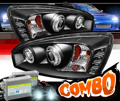 HID Xenon + Sonar® LED Halo Projector Headlights (Black) - 04-07 Chevy Malibu