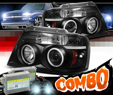 HID Xenon + Sonar® LED Halo Projector Headlights (Black) - 04-08 Ford F150 F-150 w/ Amber Reflector