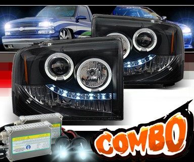 HID Xenon + Sonar® LED Halo Projector Headlights (Black) - 05-07 Ford F250 F-250 Super Duty