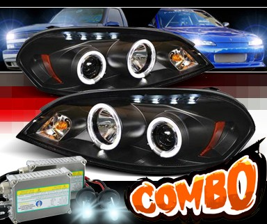 HID Xenon + Sonar® LED Halo Projector Headlights (Black) - 06-07 Chevy Monte Carlo