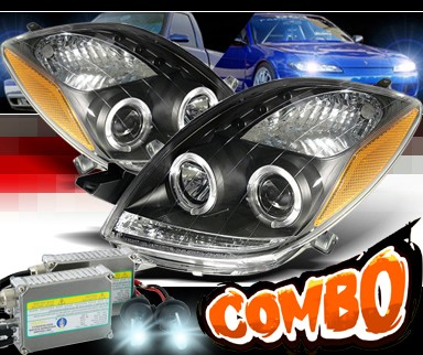 HID Xenon + Sonar® LED Halo Projector Headlights (Black) - 06-08 Toyota Yaris 3dr.