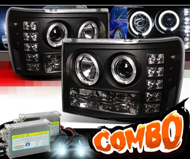 HID Xenon + Sonar® LED Halo Projector Headlights (Black) - 07-12 GMC Sierra (Incl. Denali & Hybrid)