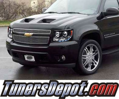 HID Xenon + Sonar® LED Halo Projector Headlights (Black) - 07-13 Chevy Avalanche