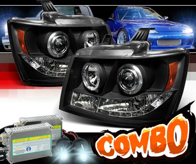 HID Xenon + Sonar® LED Halo Projector Headlights (Black) - 07-14 Chevy Avalanche