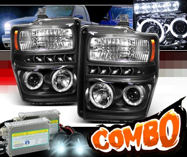 HID Xenon + Sonar® LED Halo Projector Headlights (Black) - 08-10 Ford F450 Super Duty F-450
