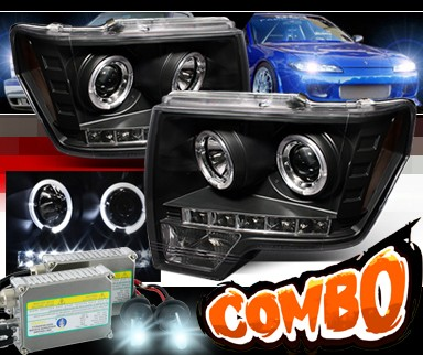 HID Xenon + Sonar® LED Halo Projector Headlights (Black) - 09-13 Ford F150 F-150