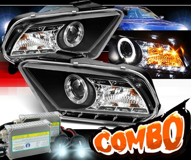 HID Xenon + Sonar® LED Halo Projector Headlights (Black) - 10-12 Ford Mustang (w/o Stock HID)