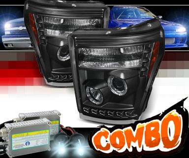 HID Xenon + Sonar® LED Halo Projector Headlights (Black) - 11-16 Ford F-250 F250 Super Duty