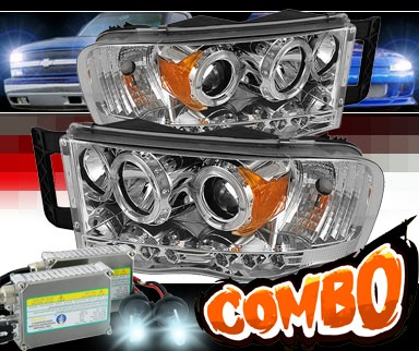 HID Xenon + Sonar® LED Halo Projector Headlights (Chrome) - 03-05 Dodge Ram Pickup