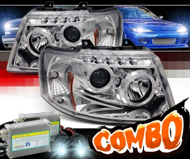 HID Xenon + Sonar® LED Halo Projector Headlights (Chrome) - 03-06 Ford Expedition