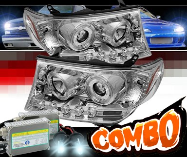 HID Xenon + Sonar® LED Halo Projector Headlights (Chrome) - 08-11 Toyota Land Cruiser