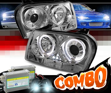 HID Xenon + Sonar® LED Halo Projector Headlights (Chrome) - 09-10 Chrysler 300