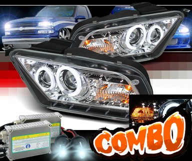 HID Xenon + Sonar® LED Halo Projector Headlights (Chrome) - 10-12 Ford Mustang (w/o Stock HID)