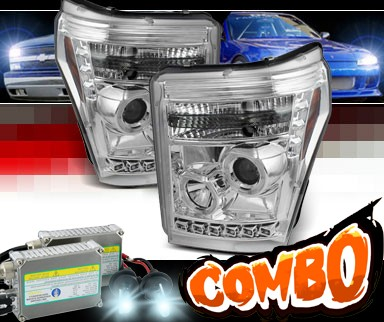 HID Xenon + Sonar® LED Halo Projector Headlights (Chrome) - 11-16 Ford F-450 F450 Super Duty