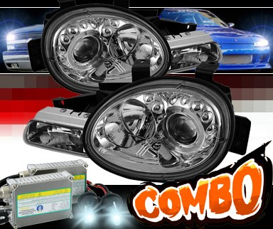 HID Xenon + Sonar® LED Halo Projector Headlights (Chrome) - 95-99 Dodge Neon