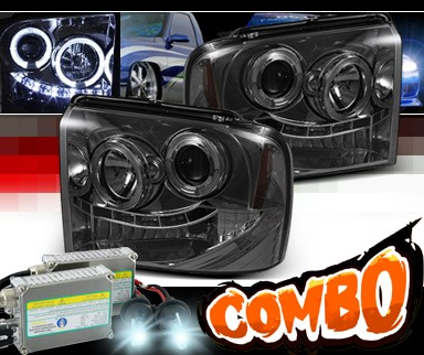 HID Xenon + Sonar® LED Halo Projector Headlights (Smoke) - 05-07 Ford F450 F-450 Super Duty