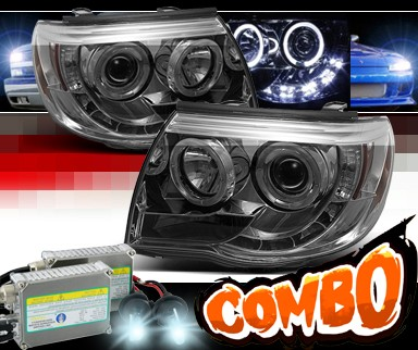 HID Xenon + Sonar® LED Halo Projector Headlights (Smoke) - 05-11 Toyota Tacoma