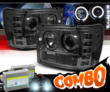 HID Xenon + Sonar® LED Halo Projector Headlights (Smoke) - 07-12 GMC Sierra (Incl. Denali & Hybrid)