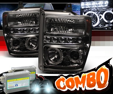 HID Xenon + Sonar® LED Halo Projector Headlights (Smoke) - 08-10 Ford F250 Super Duty F-250