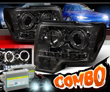 HID Xenon + Sonar® LED Halo Projector Headlights (Smoke) - 09-13 Ford F150 F-150