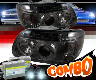 HID Xenon + Sonar® LED Halo Projector Headlights (Smoke) - 95-01 Ford Explorer