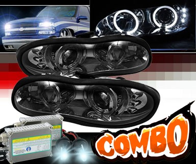 HID Xenon + Sonar® LED Halo Projector Headlights (Smoke) - 98-02 Chevy Camaro
