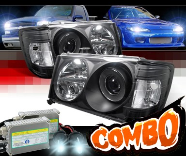 HID Xenon + Sonar® Projector Headlights (Black) - 86-93 Mercedes-Benz 300E W124