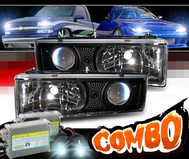 HID Xenon + Sonar® Projector Headlights (Black) - 88-98 Chevy Full Size Pickup