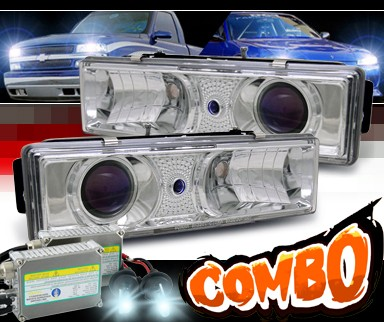 HID Xenon + Sonar® Projector Headlights (Chrome) - 88-98 Chevy Full Size Pickup
