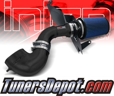 Injen® Power-Flow Cold Air Intake (Wrinkle Black) - 07-09 Ford Mustang GT 4.6L V8 (w/ Heat Shield)