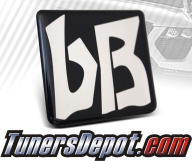 JDM Toyota Scion bB Emblem - 03-07 Scion Xb Sticker Badge (Silver on Black)