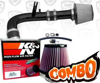 K&N® Air Filter + Spyder® Cold Air Intake System (Black) - 00-05 Dodge Neon SOHC 2.0L 4cyl