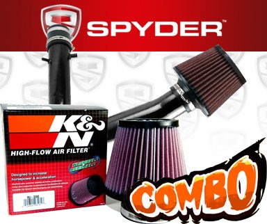 K&N® Air Filter + Spyder® Cold Air Intake System (Black) - 01-03 Acura CL 3.2 3.2L V6 Base Model