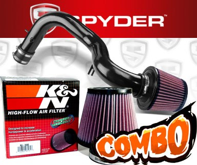 K&N® Air Filter + Spyder® Cold Air Intake System (Black) - 01-03 Acura CL 3.2 Type-S 3.2L V6 (AT)