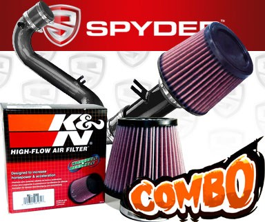 K&N® Air Filter + Spyder® Cold Air Intake System (Black) - 01-05 Honda Civic DX/LX 1.7L 4cyl (MT)