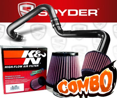 K&N® Air Filter + Spyder® Cold Air Intake System (Black) - 01-05 Honda Civic EX/DX/LX 1.7L 4cyl (AT)