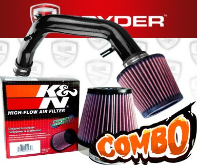 K&N® Air Filter + Spyder® Cold Air Intake System (Black) - 01-05 VW Volkswagen Jetta 1.8T 1.8L 4cyl