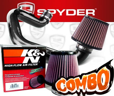 K&N® Air Filter + Spyder® Cold Air Intake System (Black) - 03-04 Toyota Corolla 1.8L 4cyl