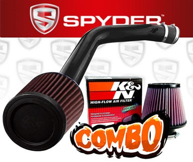 K&N® Air Filter + Spyder® Cold Air Intake System (Black) - 03-06 Honda Accord 3.0L V6