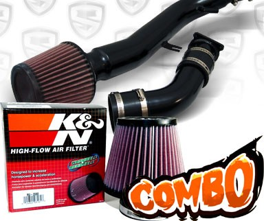 K&N® Air Filter + Spyder® Cold Air Intake System (Black) - 03-07 Infiniti G35 2dr Coupe 3.5L V6 (AT)